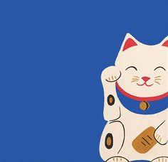 Lucky Cat Maneki Neko- Asian Cat for Good Luck- Single Greeting Card- Blue Blank Card Japanese Cat, Japanese Culture, Japanese Things, Japanese Waves, Neko Cat, Maneki Neko, Asian Cat, Cat Key, Cat Pillow