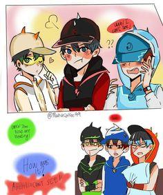 short comic by on DeviantArt Pokemon Comics, A Comics, Anime Comics, Boboiboy Anime, Kawaii Anime, Anime Art, Anime Galaxy, Boboiboy Galaxy, My Childhood Friend