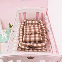 Baby Bassinet for Bed -Brown Plaid Baby Lounger - Breathable & Hypoallergenic Co-Sleeping Baby Bed - Cotton Portable Crib for Bedroom/Trave Material:vacuum cotton crib mattress,pearl cotton circles and cotton cover,safe for baby. Baby C Baby Bassinet, Baby Cribs, Baby Comforter, Crib Bedding, Portable Crib, Crib Mattress, Baby Month By Month, Baby Sleep, Toddler Bed