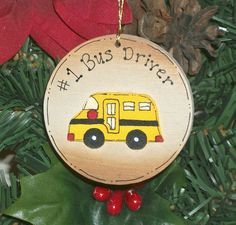 Handpainted Wooden Bus Driver Ornament, *Christmas gift