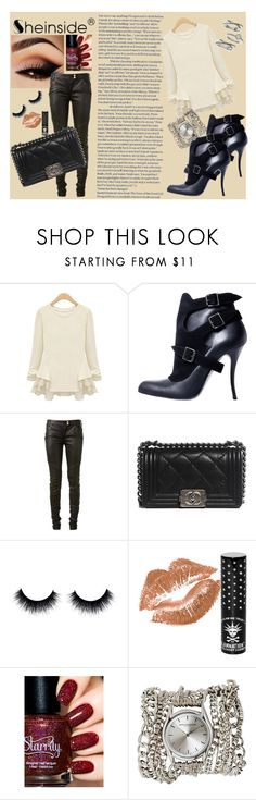 """Girls night out"" by tamara-sucha on Polyvore featuring Manolo Blahnik, Balmain, Chanel, Manic Panic, Sara Designs, Judith Jack, Sheinside and shein"