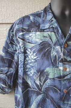 Tommy Bahama Hawaiian Shirt Large Silk Men Nightime Beach Pineapples Palm Tree in Clothing, Shoes & Accessories | eBay