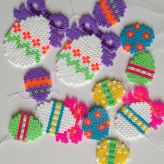 Easter eggs ornaments hama perler by galleripetz by adele Melty Bead Patterns, Hama Beads Patterns, Beading Patterns, Fuse Beads, Perler Beads, Bobe, Iron Beads, Melting Beads, Bead Art