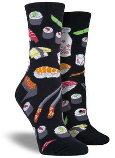 Craving some sushi? If you have a raw passion for rice and fish, look no further. Skip the expensive restaurant, roll right out of bed and into these colorful food socks. In green, purple and black, j