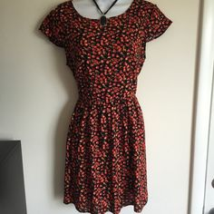 NWT cute floral dress with cap sleeves, side Zipper and button back.   Gathered waist 100% Rayon, super soft not see through. Firm unless bundled. Thank you for understanding.  StylesbyS Dresses Midi