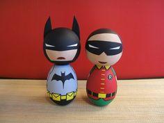 Adorable Handmade Kokeshi Dolls: Batman, Iron Man, Wonder Woman and More!
