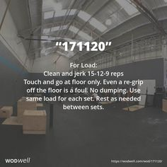 """""""171120"""" WOD - For Load: Clean and jerk 15-12-9 reps; Touch and go at floor only. Even a re-grip off the floor is a foul. No dumping. Use same load for each set. Rest as needed between sets."""
