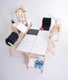 chairs with different functions connected and reorganized into a personal leisure space