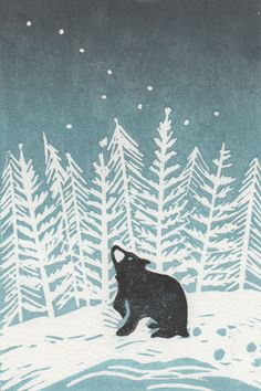 Stargazey Bear, by BearPrintDesign via Folksy