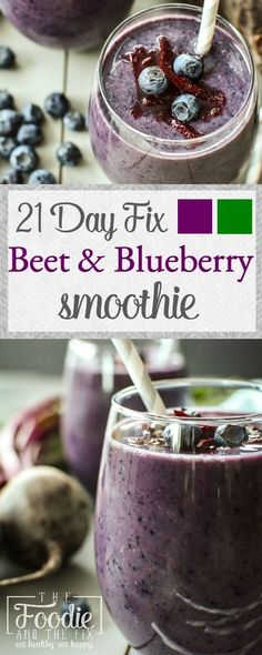 21 Day Fix Beet & Blueberry Smoothie 21 Day Fix Breakfast, Veggie Smoothies, Beet Smoothie, Homemade Smoothies, Green Smoothies, Smoothie Drinks, Simple Smoothies, Superfood Smoothies, Smoothie Cleanse