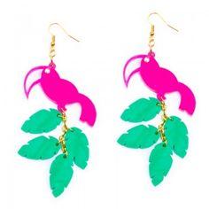 Hot pink toucan earrings - perspex jewellery - maggieangus.com