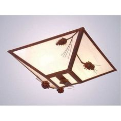 Steel Partners Ponderosa Pine Drop Ceiling Mount Finish: Mountain Brown, Shade Color: Slag Glass Pretended