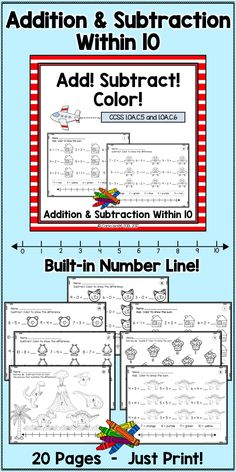 Great practice for adding and subtracting within 10 - for centers, independent work, or homework!  The built-in number line gives extra support for kids who need it.  #AdditionPractice #SubtractionPractice #AdditionWorksheets #SubtractionWorksheets #FirstGradeMath #KindergartenMath