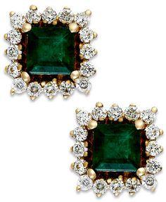 Emerald (5/8 ct. t.w.) and Diamond (1/3 ct. t.w.) Stud Earrings in 14k Gold