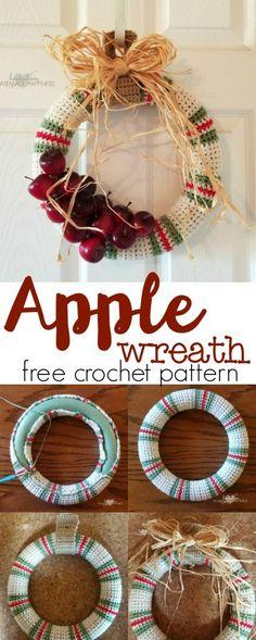 Apple Crochet Wreath - Hooked on Homemade Happiness