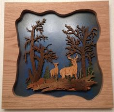 Unique Meticulous Silhouette Plaque Deer 3d Forest Scene Scroll Saw Art Plaque…