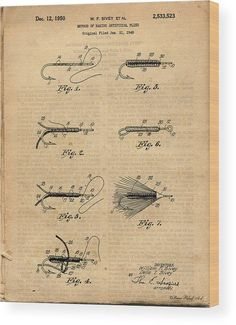 Fishing Patents Antique Fly Fishing Lure Patent Art Drawing Wood Print by Michel Keck.  All wood prints are professionally printed, packaged, and shipped within 3 - 4 business days and delivered ready-to-hang on your wall. Choose from multiple sizes and mounting options. #patentartvintage