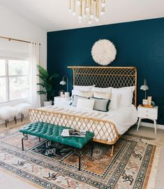 A gorgeous bohemian bedroom with a peacock blue #accentwall via @avestyles  #instacurated #instabedroom