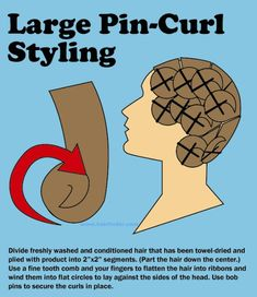 Large pincurl directions. Start with freshly shampooed and conditioned hair that has been towel-dried. Apply a liberal amount of your preferred styling product. For best results use a mousse or gel. Your best option is to segment the hair into square sections that are approximately 2 inches by 2 inches. This will give you a reasonably sized base for the pin curl. Use a fine tooth comb to flatten the segment into a ribbon of ha...