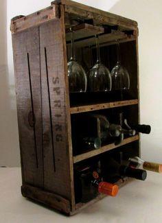 Vintage Wine Rustic Primitive Wine Rack Wood Box Vintage New por Boneythings Vintage Crates, Vintage Wine, Decor Vintage, Design Vintage, Wood Crates, Wood Boxes, Wine Storage, Storage Boxes, Wood Wine Racks