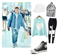 """""""Airport Fashion With Monsta X Kihyun"""" by zasad ❤ liked on Polyvore featuring Talbots, Vans and Converse"""
