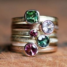 Green tourmaline ring in recycled 14k yellow gold - emerald green - cushion solitaire - wheat braid -