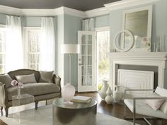 benjamin moore - smoke 2122-40, kendall charcoal HC-166, genesis white 2134-70  Love this color palette