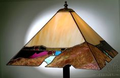 Make your home office extraordinary with this handmade Small Golden Organic Prairie stained glass lamp by Vermont artist Julia Brandis. Handmade home decor or office decor.