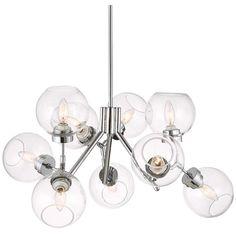 """Possini Euro Diamet 27 1/2""""W Chrome-Glass 9 Light Pendant - #9N423   Lamps Plus"""