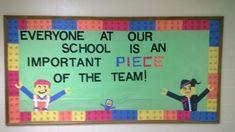 lego themed bulletin board ideas for classrooms Teamwork Bulletin Boards, Team Bulletin Board, Preschool Bulletin Boards, Lego Decorations, School Decorations, School Themes, School Ideas, Lego Classroom Theme, New Classroom