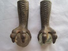 Antique Claw Foot - Claw and Ball Glass Foot - Set of Two
