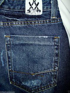 VANS Off The Wall Slim Fit Straight Leg Jeans Distressed Denim 28W Surf Skate EC #VANSOFFTHEWALL #SlimStraightLeg