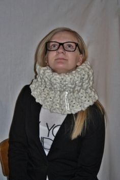 knitted cowl in garter stitch, fat&fluffy merino super bulky yarn, soft and ecological, chunky knit worldwide shipping online shopping! www.no Extreme Knitting, Super Bulky Yarn, Knit Cowl, Garter Stitch, Crochet, Online Shopping, Fat, Design, Fashion