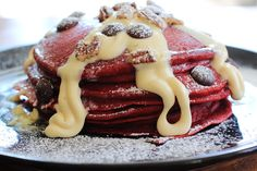Red Velvet Pancakes w/ Maple Cream Cheese Glaze - sounds like Christmas morning breakfast - but I think at least one test run is in order.