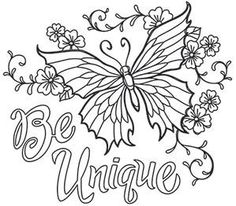 Bold Thoughts - Be Unique_image Coloring Pages For Grown Ups, Love Coloring Pages, Printable Adult Coloring Pages, Coloring Books, Colouring Sheets For Adults, Doodle Coloring, Coloring Sheets, Mindfulness Colouring, Butterfly Coloring Page