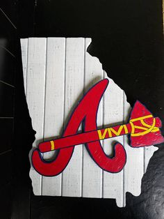 *CAN MAKE ANY TEAM* Atlanta braves wooden sign. Atlanta Braves Logo, Braves Baseball, Baseball Stuff, Bottle Cap Images, Diy Signs, Broncos, Dodgers, Wood Pallets, Wooden Signs