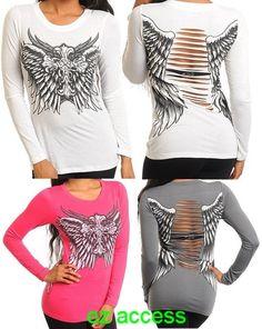 Sexy Women Top T Shirt Long sleeve Cross Wing Tattoo Rhinestone Cutout Back