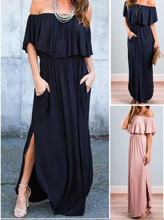181a0169c2 Women s Boho off Shoulder Short Sleeve Ruffle Solid Maxi Dress with Pockets