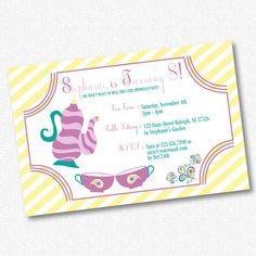 Girl Birthday Party Invitation  Tea Party  by idconsultdesign, $13.00