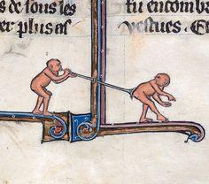 flatulent monkeys Le livre de Lancelot du Lac and other Arthurian Romances, Northern France 13th century Beinecke Rare Book & Manuscript Library, MS 229, fol. 147r