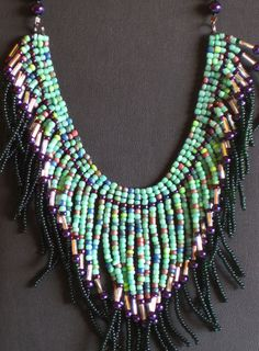 Native American necklace in purple, greens and silver by MontanaTreasuresbyMJ on Etsy