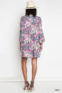 Umgee Floral Pink/Grey Tunic Top BOHO Trapeze Swing Dress