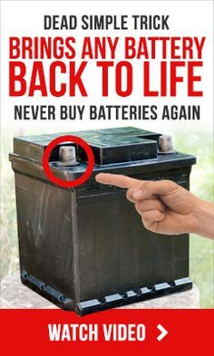 Battery Reconditioning Do this to bring any old battery back to life - just like new How to never pay for new batteries ever again! Dead simple trick brings any battery back to life never buy batteries again Save Money And NEVER Buy A New Battery Again Off The Grid, Battery Hacks, Lead Acid Battery, Big Battery, Electronics Projects, Electronics Basics, Survival Tips, Cool Stuff, Stuff To Buy