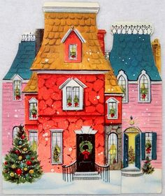 I love this Victorian house with its strange color mix and being able to peek into all the windows. I even love the tree with its pretty ornaments.