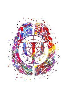 'Psychology symbol and brain' by Rosaliartbook Psychology Tattoo, Psychology Symbol, Color Psychology, Psychology Facts, Online Psychology Courses, Brain Tattoo, Brain Art, Clinical Psychologist, Photo D Art