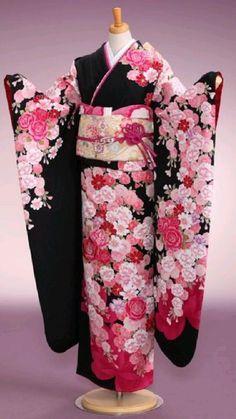 Traditioneller Kimono, Anime Kimono, Kimono Outfit, Kimono Fashion, Traditional Japanese Kimono, Traditional Dresses, Japanese Geisha, Kimono Tradicional, Kimono Design
