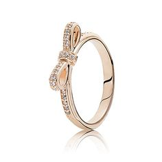 PANDORA | Bow PANDORA Rose ring with cubic zirconia