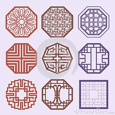 Korean old of Window Frame Symbol sets. Korean traditional Patte