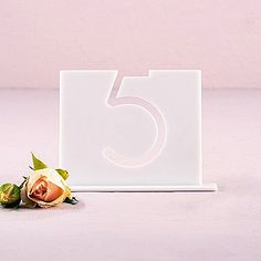 Top-Aligned Style White Acrylic Table Number (Numbers 1-9 Available)