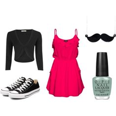 Dressy Casual. I love that pink dress so much. And the mustache necklace :)